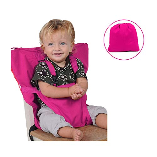 or Baby Feeding | Portable for Travel | Highchair Safety Cushion for Infant, Baby and Toddler | Easy to Store | Adjustable Shoulder Strap | Universal Size Holds Upto 40lbs (Pink) ()