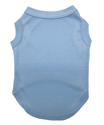 Image of Petitebella Puppy Clothes Dog Dress Plain Blue Sleeveless Cotton Tee T Shirt (X-large)