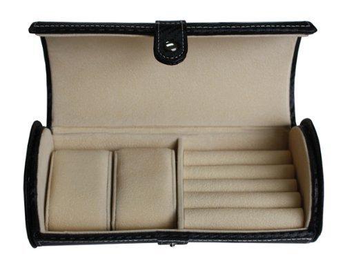 Black Carbon Fiber 2 Watch Roll Travel Case with Cufflink Ring Storage Watch Jewelry Organizer Collector
