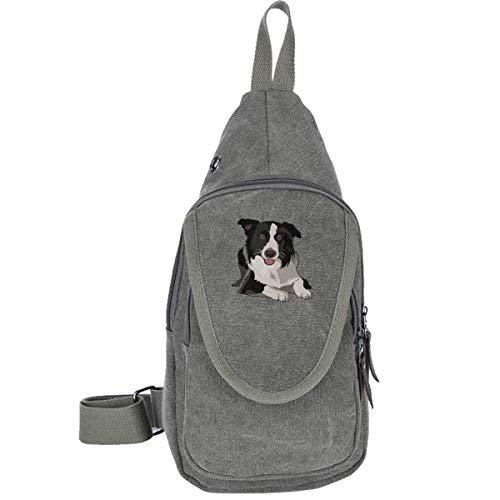 Border Collie Canvas Sling Bag Outdoor Crossbody Shoulder Chest Pack Travel Bags for Men Women Black
