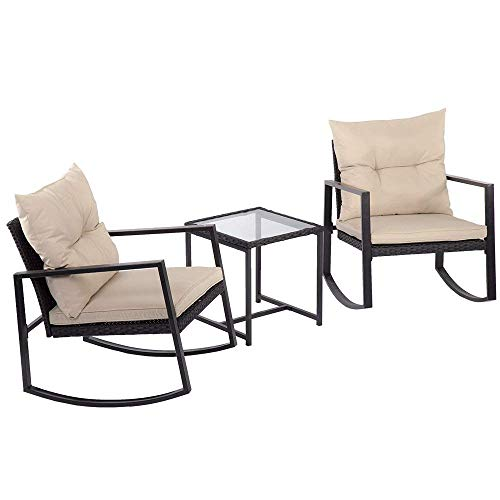 Outdoor 3 Pcs Wicker Patio Furniture Sets Rocking Wicker Bistro Wicker Sofa Set with Two Chairs and One Coffee Table for Yard Review