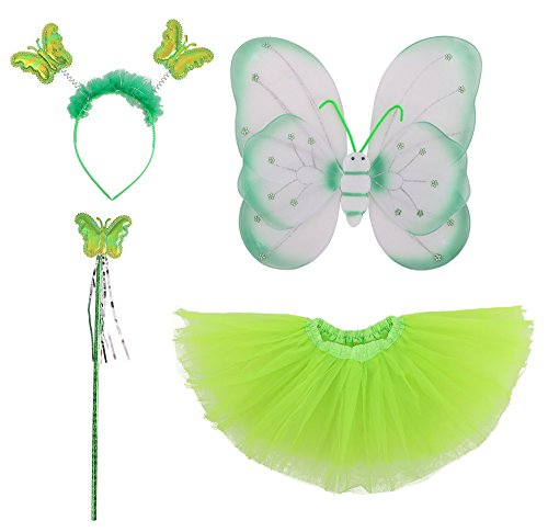 Spooktacular Kids' Fairy Wings Tutu Wand Headband Set
