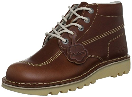 Kickers Kick Hi Core Dark Tan Leather Mens Boots-46 - Kickers Shoes Boots
