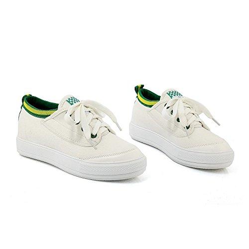 AllhqFashion Damen Schnüren PU Leder Rund Zehe Mittler Absatz Gemischte Farbe Pumps Schuhe Grün