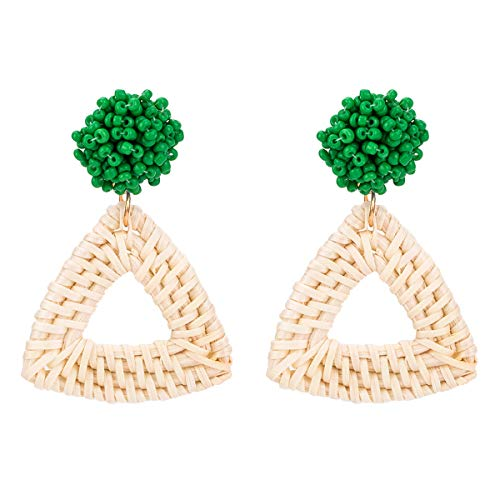 NEWNOVE Rattan Earrings for Women Girls Bohemia Handmade Beaded Geometric Earrings Gifts for Mom (A_Green)