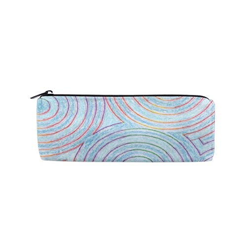 (CAClifestyle Colorful Circle Ripples Cylinder Cosmetic Bag Small Travel Organizer Pencil Case)