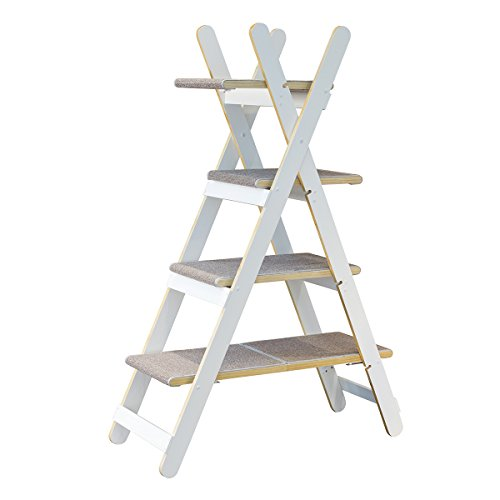 zoovilla TOY0091720110 Modern Folding Cat Tree, White