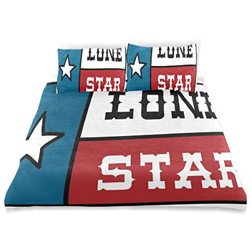 YCHY Decor Duvet Cover Set, Texas Star Lone Flag United States of America Themed Patriotic Design A Decorative 3 Pcs Bedding Set with Pillowcases, King