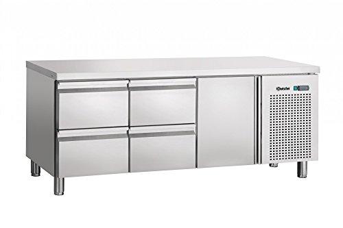 Table réfrigérée ventilée, 1 porte, 4 tiroirs