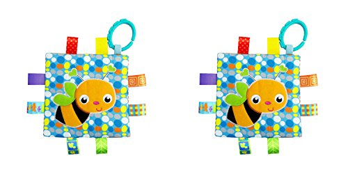 Outlander Gear Brand Tag Luxury Style Security Comforting Teether Ultra Soft Blanket 8X8 Inches - Honey Bee Theme 2-Pack Gift (Studio Ghibli Happy Halloween)
