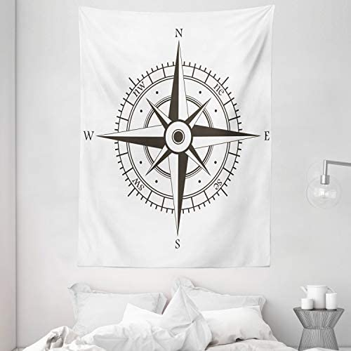 Ambesonne Compass Tapestry, Wind Rose Old Fashion Navigational Equipments Orienteering Illustration Print, Wall Hanging for Bedroom Living Room Dorm, 60 X 80 Inches, Evergreen White