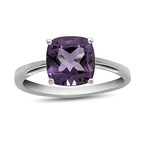 Finejewelers 10k White Gold 7mm Solitaire Cushion Amethyst Ring Size 5 ()