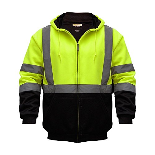 - High Visibility Reflective Outdoor Jacket: Softshell Hooded Jackets For Hunting and Construction with Teflon Fabric Protector in Lime / Medium