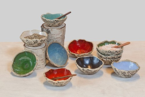 (SPECIAL OFFER of 3 stunning handmade spice bowl set with spoon, Stoneware pottery bowl set, Ring bowl, Soy sauce bowl set, Salt & Pepper bowl set, Birthday & Christmas gift. 6 color variations.)