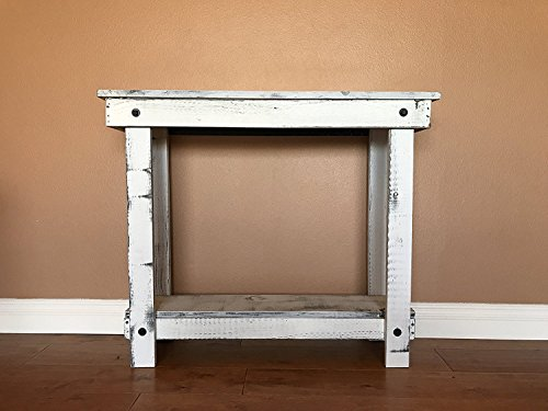 Rustic Handcrafted Reclaimed Console Table - Self Assembly - Absolute White (Shabby Chic Sofa Table)