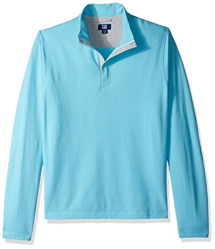 Cutter & Buck Mesh Pullover - Cutter & Buck Men's Hewitt Lightweight Honeycomb Textured Half-Zip Sweatshirt, Aruba, X-Large Tall