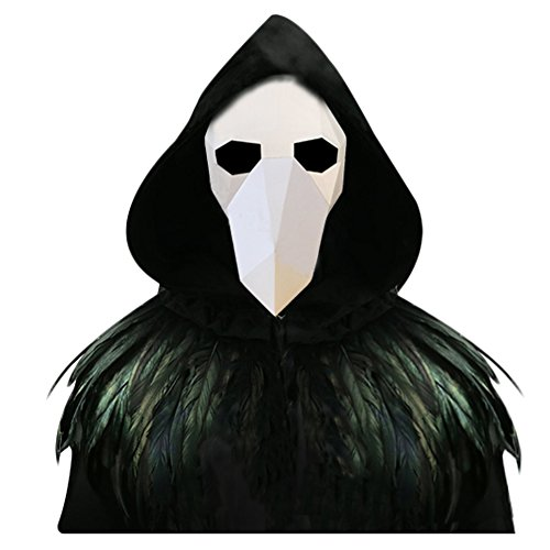 L'VOW Gothic Feather Cape Long Cloak Plague Beak Mask Halloween Cosplay Costume Kits (White and -