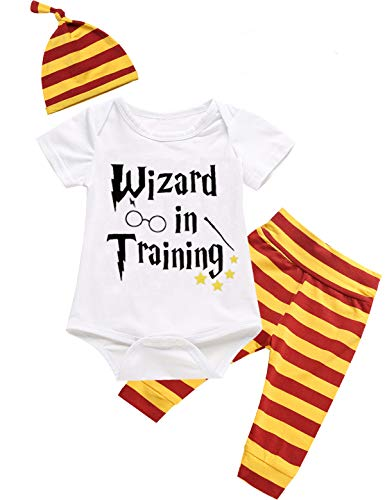 (Outfit Set Baby Boy Girls Wizard Magician Funny Romper (White04, 0-3)