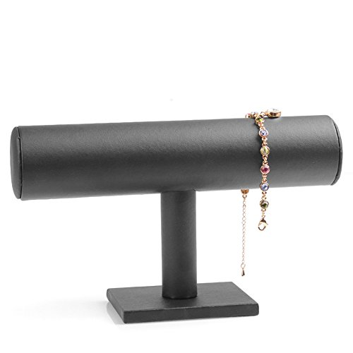 ChezMax Hovering T-Bar Bracelet Necklace Jewelry Display Stand for Home Organization, Black Leatherette