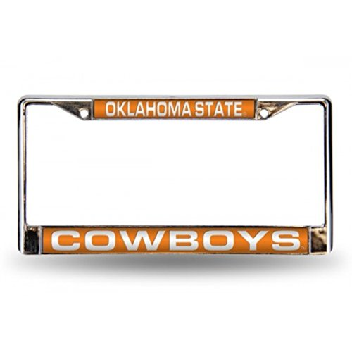 Rico Industries NCAA Oklahoma State Cowboys Laser Cut Inlaid Standard Chrome License Plate Frame