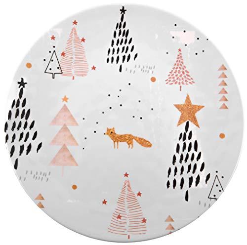 10.5 Melamine Plate (Melange 608410091603 6 -Piece 100% Melamine Dinner Plates Christmas Collection-Golden Fox Shatter-Proof and Chip-Resistant| 10.5