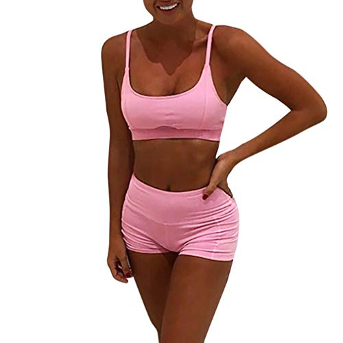 Nacome Women s Fitness Running Sports Yoga Suits Bra +Shorts Set Athletic  Tracksuit Outfit (Pink 293905334