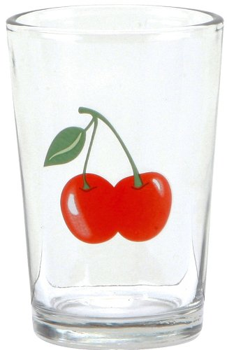 C.R. Gibson Jessie Steele Juice Glasses in a Decorative Tin, Kitchen Cherry, Set of 6