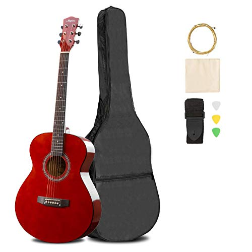 ARTALL 39 Inch Handmade Solid Wood Acoustic Dreadnought Guitar Beginner Kit with Gig Bag, Strings, Picks, Strap, Glossy Orange