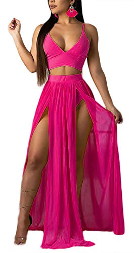 Women Sexy 2 Piece Outfits Dress Chiffon Strap Deep V Neck Bra Crop Top High Split Maxi Dresses Skirt Set Pink