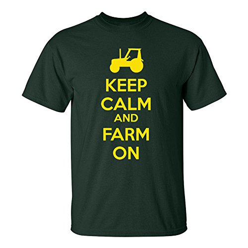 Mashed Clothing Keep Calm And Farm On (Tractor) Funny Adult T-Shirt (Forest, XL)