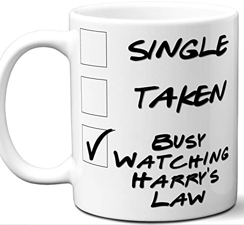 Harry's Law Gift for Fans, Lovers. Funny Parody TV Show Mug. Single, Taken, Busy Watching. Poster, Men, Memorabilia, Women, Birthday, Christmas, Father's Day, Mother's Day.