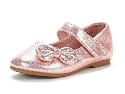 DREAM PAIRS Angel-5 Adorable Mary Jane Side Bow Buckle Strap Ballerina Flat (Toddler/Little Girl) Pink Suede 8 (Pink Glitter Flower)