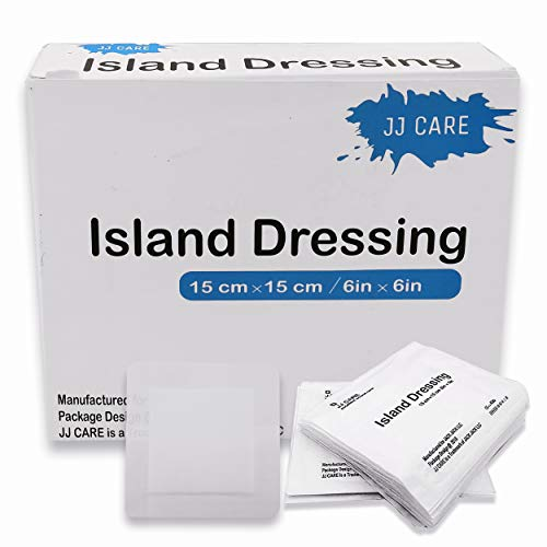 [Pack of 50] 6x6 inches Adhesive Island Dressing - Sterile Bordered Gauze Pads - Adhesive Wound Dressing - Latex Free, Individually Wrapped Island Gauze Dressing