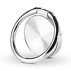 Car Mount 360° Rotation Washable Removable Thin Universal Cell Phone Ring Stand Holder Finger Ring Grip Kickstand Anti Drop Phone Ring Holder Stand Phone case Tablet PC Smartphone (Silver)