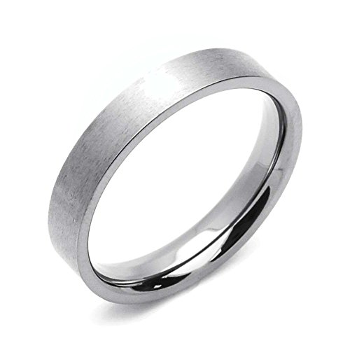 Wedding Fit Flat Band Comfort - Double Accent 4MM Comfort Fit Titanium Wedding Band Classic Flat Ring (Size 5 to 12) Size 5.5