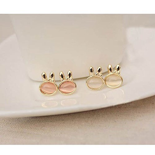 (Fabulous Set Kit With 2 Pairs of Golden Colored Earrings / Ear Studs In Bunny / Rabbit Heads Shapes Encrusted With Pink And White Cat Eye Stones / Gems / Jewels By VAGA®)