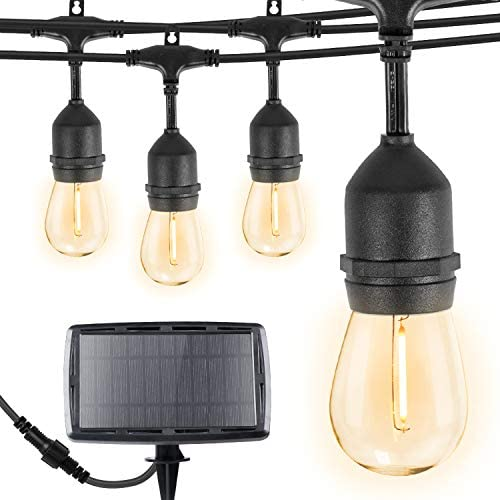 Brightown 34Ft LED Solar String Lights with 15 Shatterproof Bulbs, Solar USB Charging with 4 Lighting Modes, Weatherproof Ambient Lighting for Patio Deck Cafe, Black Cord, 2700K