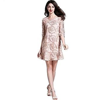 02081ce97 SONGQINGCHENG Última Moda Luz Pista Encaje Rosa Vestido De Mujer Casual  Elegante Hem Vestidos De Verano