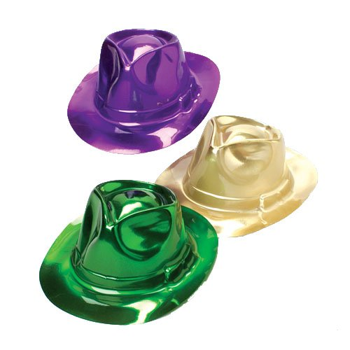 [Mardi Gras Fedora Hats,12 pack( Assortment of Purple, Gold and Green)] (Mardi Gras Hats)
