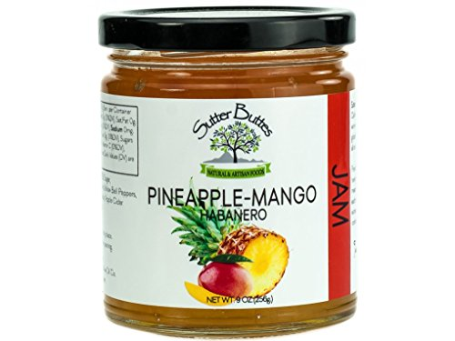 - Suttter Buttes Pineapple Mango Habanero Jam (9oz jar) Fresh Tropical Mixed Fruit Preserves with Red Hot Habanero Pepper, Premium All-Natural Artisan Craft Sweet and Spicy Jam