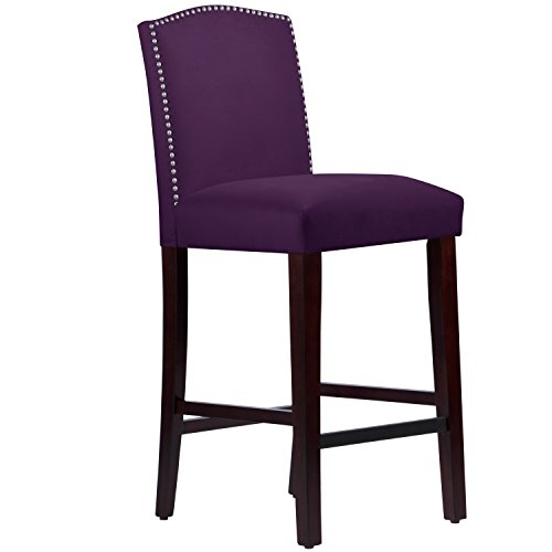 Velvet Button Stool (Skyline Furniture Made to Order Nail Button Arched Barstool in Velvet Aubergine)
