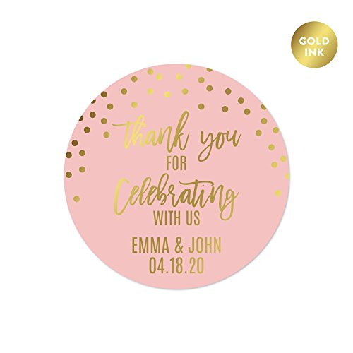Andaz Press Blush Pink and Metallic Gold Confetti Polka Dots Wedding Party Collection, Personalized Round Circle Label Stickers, Thank You for Celebrating with US, 40-Pack, Custom Name