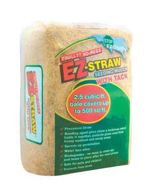 EZ-Straw Seeding Mulch with Tack - Biodegradable Organic Processed Straw - 2.5 CU FT Bale (covers up to 500 sq. ft.) (Best Grass Seed For Hard To Grow Areas)
