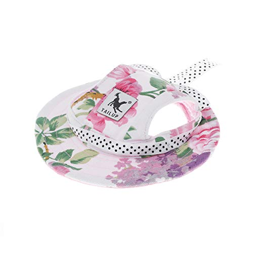 - WINOMO Round Brim Pet Cap Visor Hat Pet Dog Mesh Porous Sun Cap with Ear Holes for Small Dogs - Size M (Floral Print)