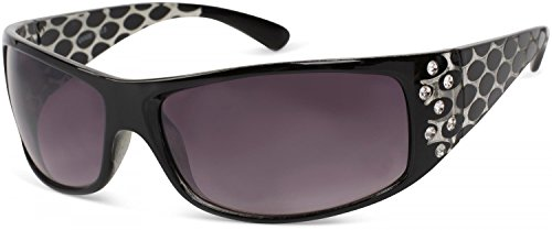 styleBREAKER Sonnenbrille mit Strass und breitem Bügel mit Kreis Optik, Damen 09020058, Farbe:Gestell Schwarz / Glas Grau-Violett Verlaufsglas
