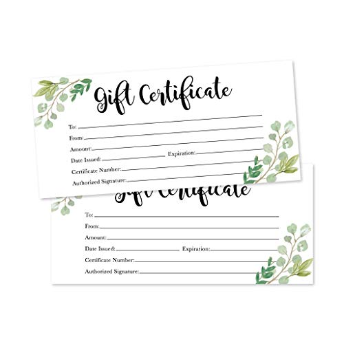 25 4x9 greenery blank gift certificate cards vouchers for holiday