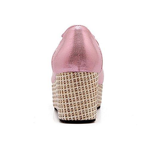 VogueZone009 Damen Ziehen auf Blend-Materialien Rund Zehe Mittler Absatz Rein Pumps Schuhe Pink