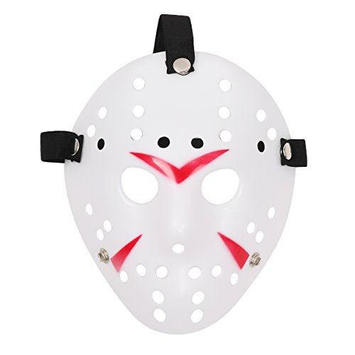CHICTRY Horror Halloween Hockey Mask Cosplay Costume Mask Props with Elastic Strap for Masquerade Parties Carnival Christmas Easter Party Favors Type B One Size -