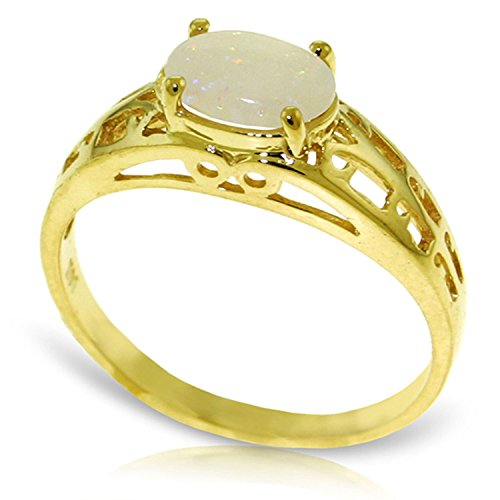 ALARRI 0.45 Carat 14K Solid Gold Filigree Ring Natural Opal With Ring Size (Gold Filigree Opal Ring)