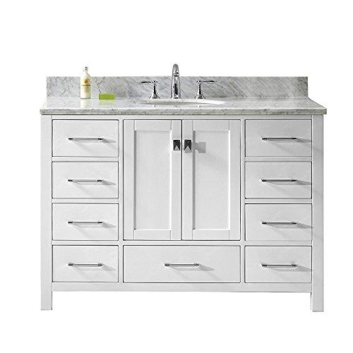 Virtu USA Caroline Avenue 48 inch Single Sink Bathroom Vanity Set in White w/Round Undermount Sink, Italian Carrara White Marble Countertop, Polished Chrome Faucet, 1 Mirror - GS-50048-WMRO-WH-002
